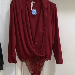 NWT Free People Intimately Elsa Lace Bodysuit L